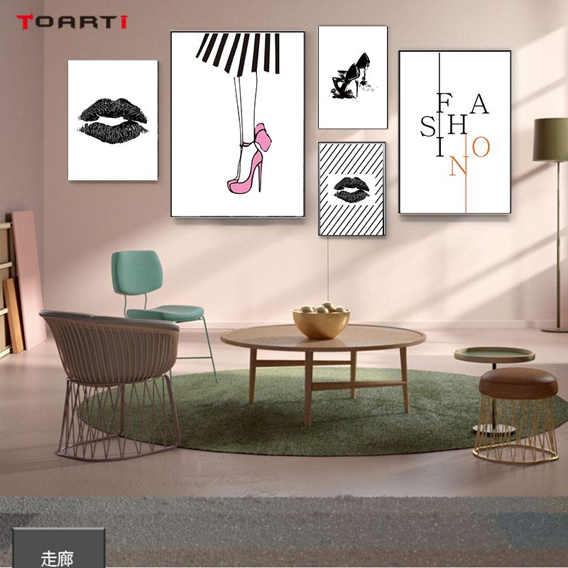 Fashion Lady Girl Prints Poster High heel  Lip Canvas Painting On The Wall For Living Room Bedroom Home Decor Modern Art Picture (1)