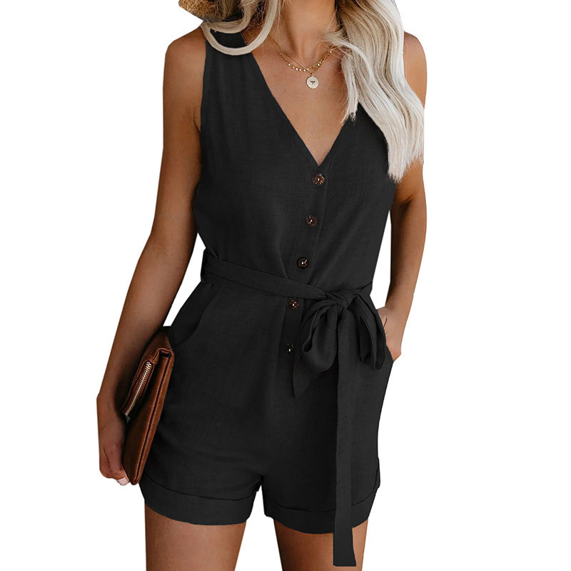Summer Retro Button Sleeveless Plusysuits Women Causal Beach Playsuits Romper Lady Mid Waist Straight Belt Bow Women's Shorts