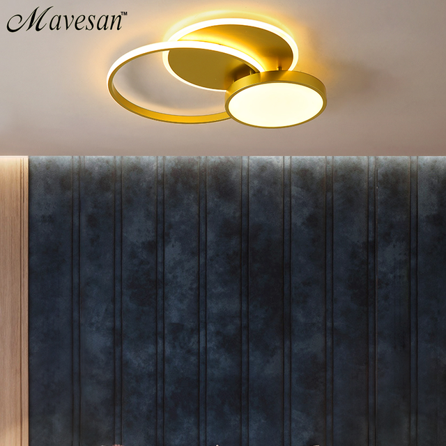 Plafonniers de LED dor pour des montages de salon anneau éclairage de chambre à coucher moderne décoration dintérieur Lustre de lampe de Plafon