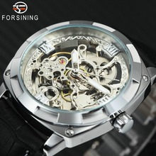 FORSINING Fashion Sport Business Luxury Mechanical Watches Men Skeleton Leather Strap Auto Wristwatch for Man Relogio Masculino
