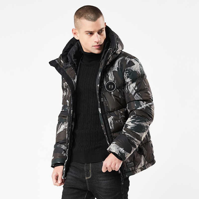 New Men's Casual Parkas Camouflage Thick Warm Winter Jacket Men Military Hooded Padded Overcoat Letter Warm Jacket