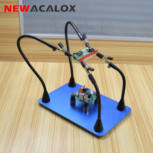 NEWACALOX Magnetic Flexible Arm Soldering Holder Third Hand PCB Circuit Board Fixture Clips 3X USB Illuminated Magnifier