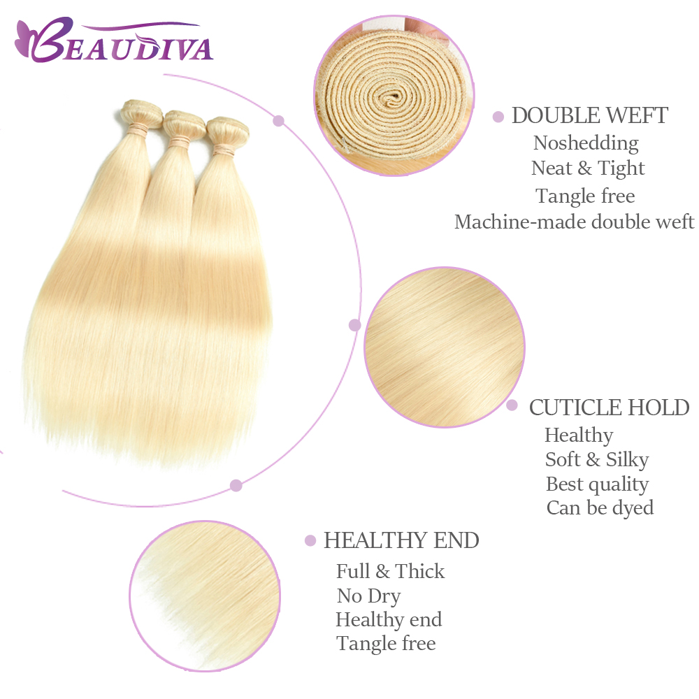 Beaudiva  Blonde 613 Bundles With Closure  Straight Hair  Bundles With Closure 5