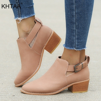 KHTAA Plus Size Pumps Mid Heels Women Shoes Ladies Buckle Hollow Clog Sole For Woman Fashion Female Breathable Casual Footwear