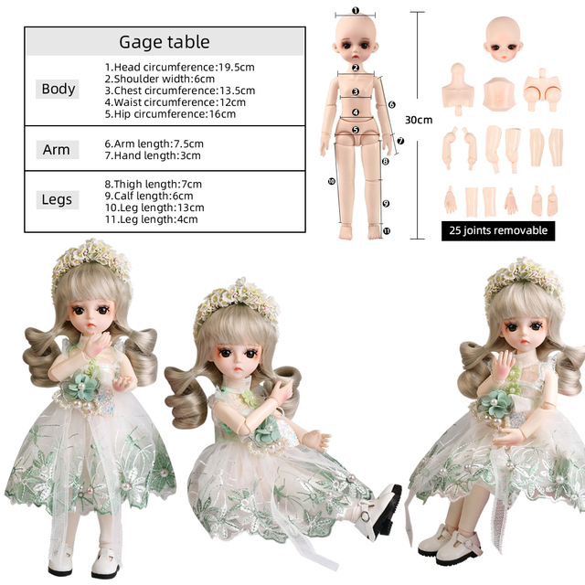 UCanaan BJD Doll 1/6 SD Dolls 30CM Girls Dress UP Toys With Full Outfits Dress Wig Shoes Makeup Best Gifts For Girls 5