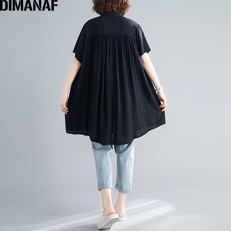 DIMANAF Summer Plus Size Blouse Shirts Women Clothing Lady Tops Tunic Cotton Casual Loose Pleated Button Cardigan Solid Black
