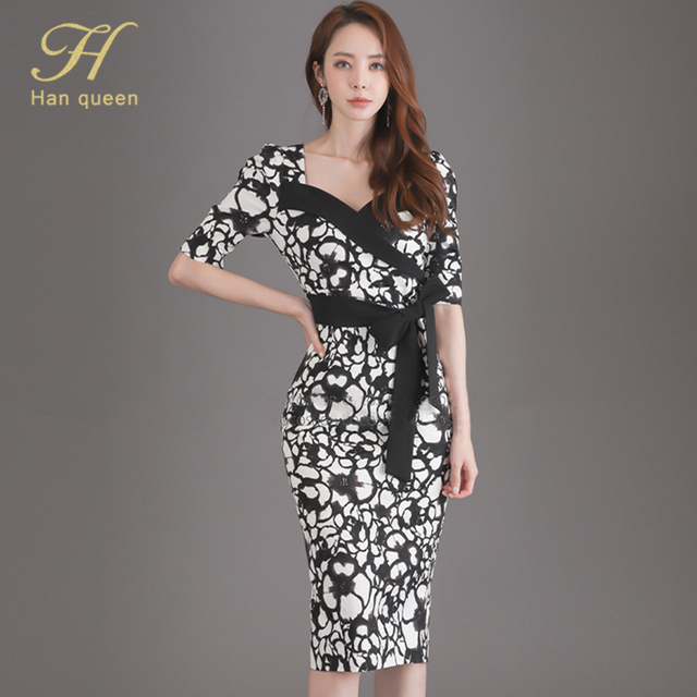 H Han Queen Flower Print Fashion Pencil Dress Women Casual Dresses Office Lady Evening Party Sexy Elegant Simple Series Vestidos 1