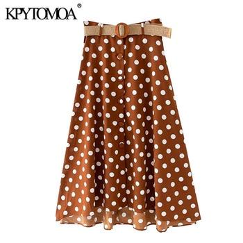 KPYTOMOA, moda de 2020, Falda Midi elegante de lunares con cinturón, faldas irregulares de botón de cintura alta para Mujer