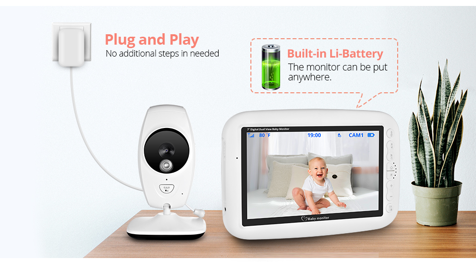 7 Inch Wireless Baby Monitor With 720P HD Screen Camera To Check Your Baby Monitor Screen 18