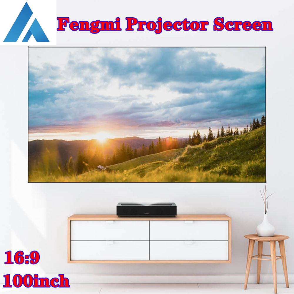 FENGMI 100 inç projeksiyon perdesi 169 4K HD siyah ekran Anti-hafif yumuşak ekran ev sineması Ultra kısa mesafeli lazer projeksiyon