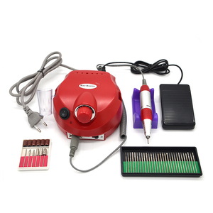 Image 1 - 110/220V 35000 tr/min Pro outil à ongles électrique Bit manucure Machine Kit Pro Salon maison ongles outils ensemble rouge perceuse à ongles
