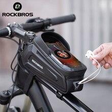 ROCKBROS bisiklet çantası su geçirmez dokunmatik ekran bisiklet çantası Top ön tüp çerçeve MTB yol bisiklet çantası 6.5 telefon kılıfı bisiklet aksesuarları
