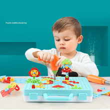boys toys Creative Educational Toy Electric Drill Screws Puzzle Assembled Mosaic Design Building Toys Boy Pretend Play Toy 3d construction sets for kids toy drill play creative educational games mosaic design building toys tool set for boy 3 years toy