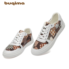 Buqima high-quality leather casual shoes Mens autumn sports Pudding board Flat sole canvas Youth leatherShoes