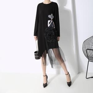 Image 4 - New 2019 Korean Style Women Autumn Black Printed Dress Long Sleeve Mesh Big Flower Stitched Ladies Cute Casual Dress Robe 5461