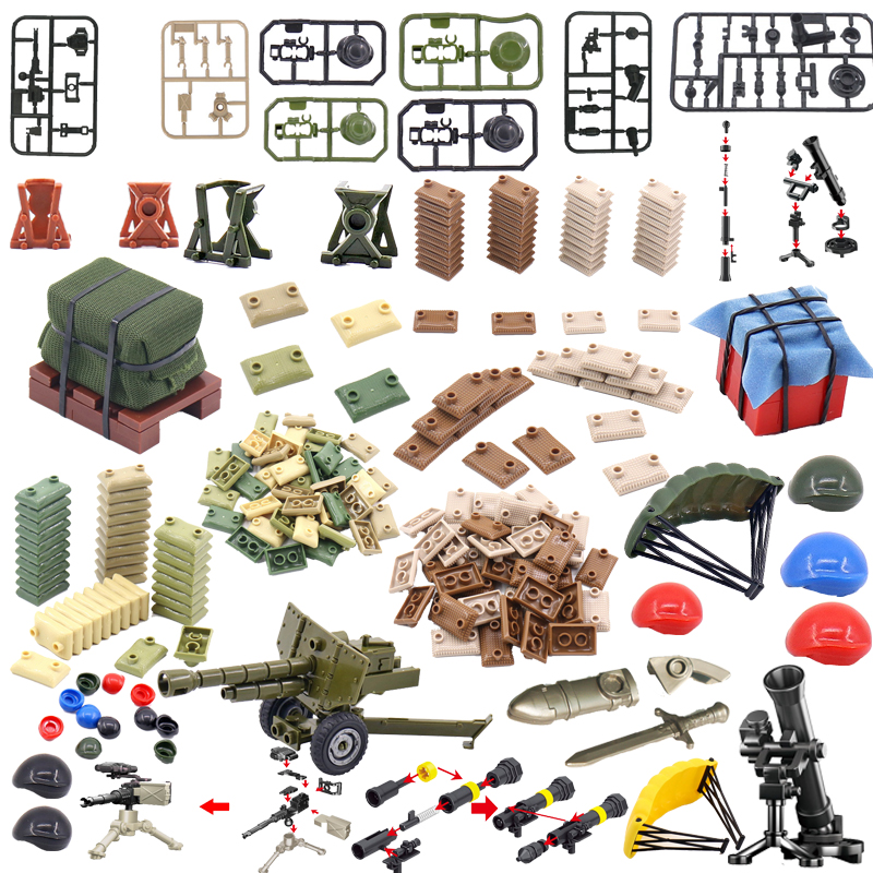 Locking Military Weaponry Airdrop Sandbag Building Blocks Educational Toys For Kids Child's Gift Accessories For Militarys Model