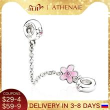 ATHENAIE 925 Sterling Silver Pink CZ and Enamel Cherry Flower Safety Chain Charms DIY Beads Fit Women Charm Bracelet