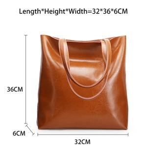Image 4 - Zency 100% Genuine Leather Vintage Women Shoulder Bag High Quality Fashion Brown Large Capacity Shopping Bags Black Tote Handbag