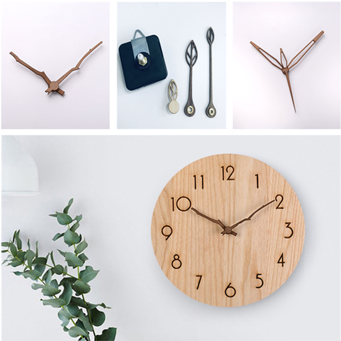 10sets Hotsale Wooden Hands Sun Quartz Wall Clock 28mm Spindle Movement Mechanism With Hook Part DIY Repair Kit Accessories