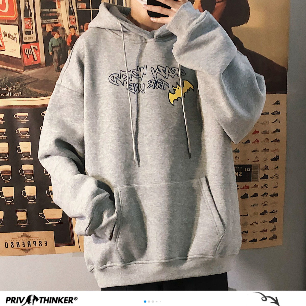 Privathinker Funny Printed Men's Fleece Hoodies Japanese Men Women Oversized Sweatshirts 2020 Autumn Warm Hooded Pullovers