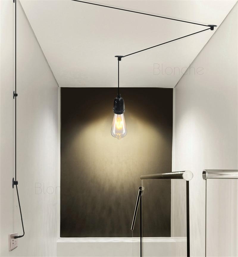 modern diy line pendant lamps 4m wires led hanging lights home decor for balcony living room kitchen bedroom nordic led lamps