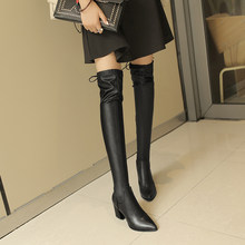 Brand Women Lace Up Over The Knee Boots 7.5 Cm Thick High Heel Lady Thigh High Boots Winter Fashion Slim Women Shoes Black(China)