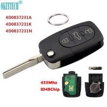 OkeyTech mando a distancia de 3 botones para coche, 433Mhz, para AUDI 4D0837231A 4D0837231K 4D0837231N, funda abatible con Chip ID48 para modelos A3, A4, A6 y A8