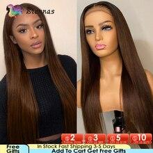 Reta 4x4 fechamento do laço perucas de cabelo humano para as mulheres em linha reta cor marrom 13x1 t parte peruca do laço pré arrancado cabelo remy brazillian