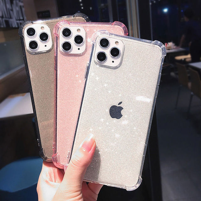 Glitter Transparent Shockproof Phone Case For iPhone 12 Pro 11 Pro Max XR X XS Max 7 8 Plus SE 2020 Soft TPU Shining Back Cover 2