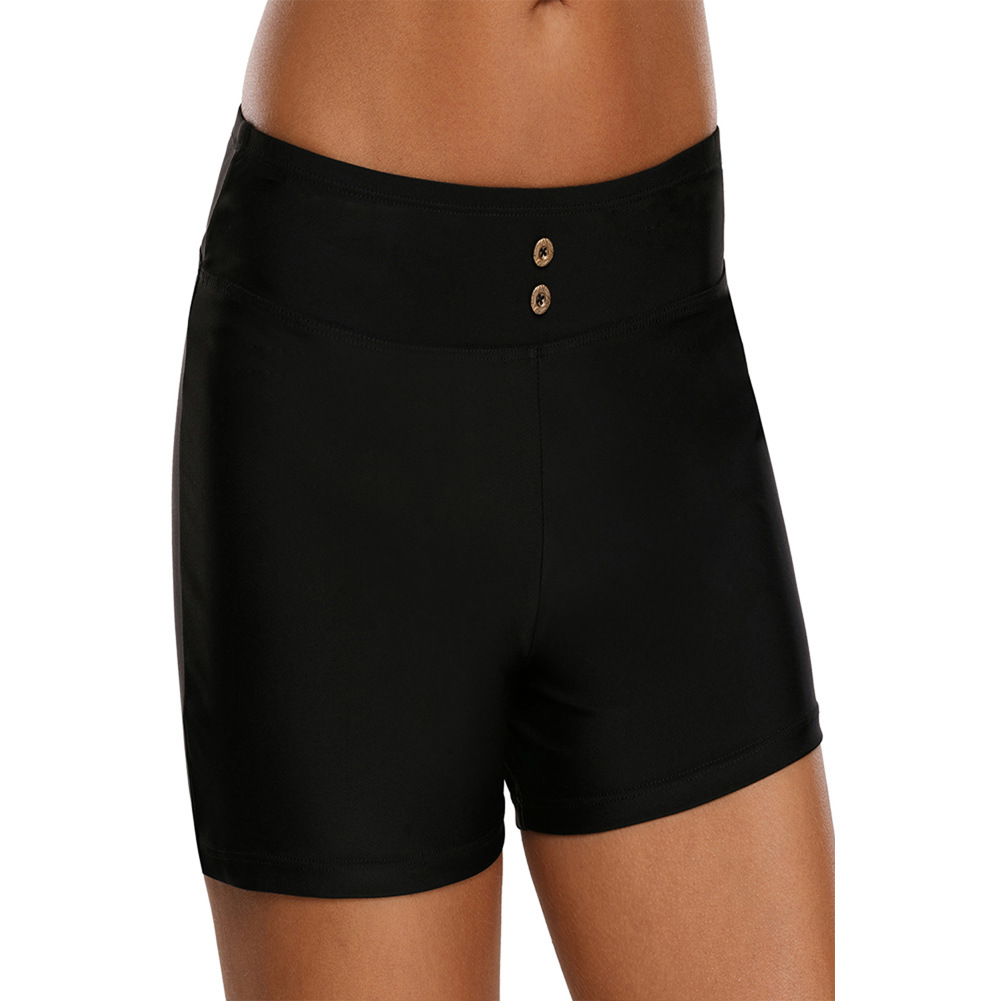 New Style Swimming Trunks Women's 2019 Black And White With Pattern High-waisted Boxers Seaside Holiday Beach Shorts Night Runni