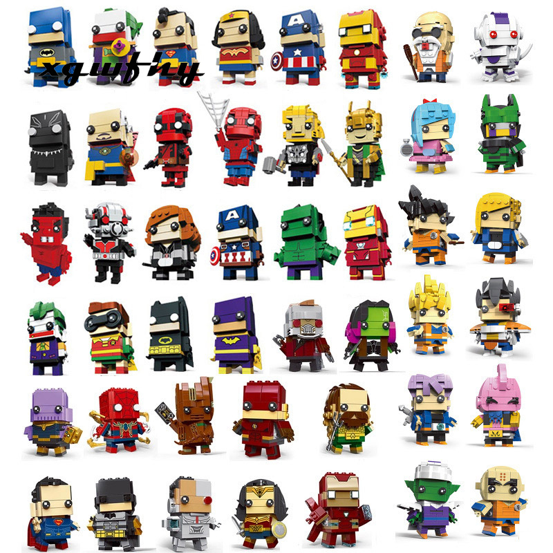 New 33 Categories Brickheadz Figures Super Hero Justice League Brick Heads Iron Man Spider Man Building Blocks Kids Toys JM322