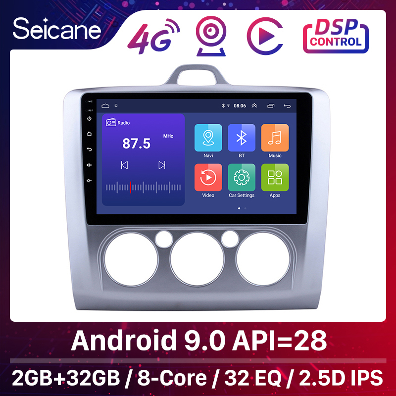 Seicane 9 inch Android 9.0 Car Radio For <font><b>ford</b></font> <font><b>focus</b></font> EXI MT 2 3 <font><b>Mk2</b></font> 2004 2005 2006 2007 2008 2009-2011 2Din GPS <font><b>Multimedia</b></font> Player image