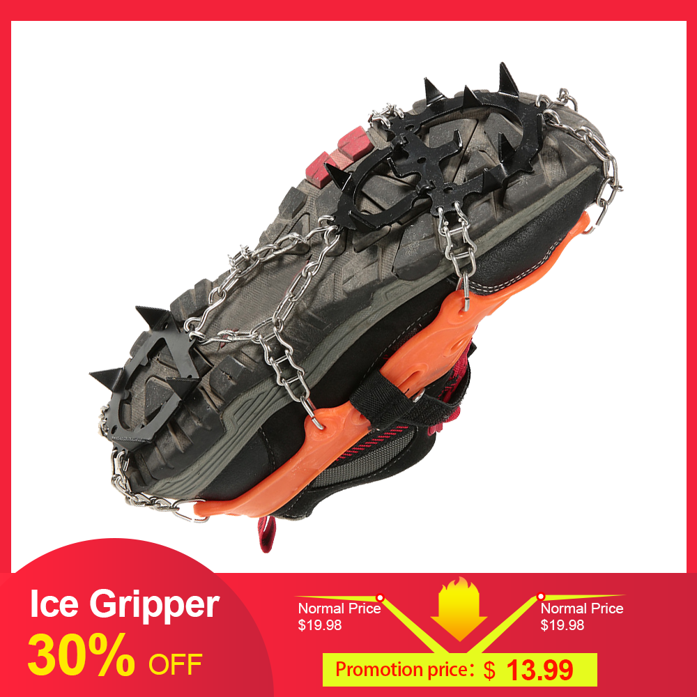 2pcs 14-Teeth 2 Color Winter Sports Anti-Slip Ice Gripper Cleats Shoe Boot Grips Crampon Chain Spike Snow Climbing Equipment