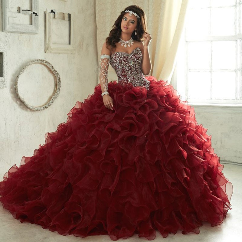 Quinceanera-Dresses Prom-Gowns Crystal Organza Sweet 15 Burgundy Elegant With Frils Lace-Up