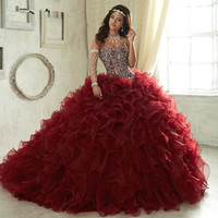 Burgundy Elegant Quinceanera Dresses with Frils 2019 Real Pictures Sexy Lace up Crystal Organza Sweet 15 16 Prom Gowns