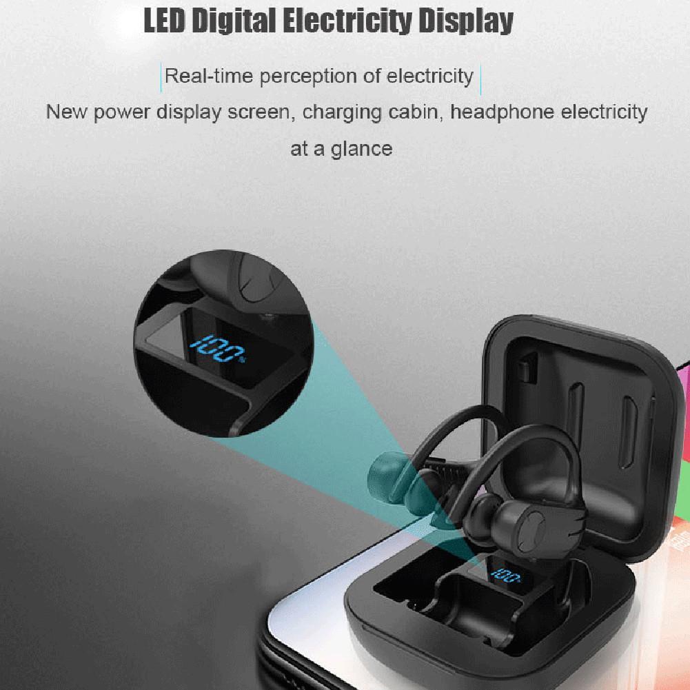Спортивная Bluetooth-гарнитура B1, водонепроницаемые наушники-вкладыши с цифровым дисплеем, TWS 5,0, черные беспроводные Bluetooth-наушники