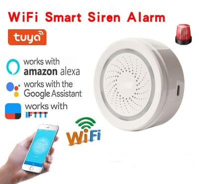 WiFi Wireless Sound And Light Siren Alarm Tuya Wireless Smart Home Alarm System Smartphone Support Alexa Google Home IFTTT