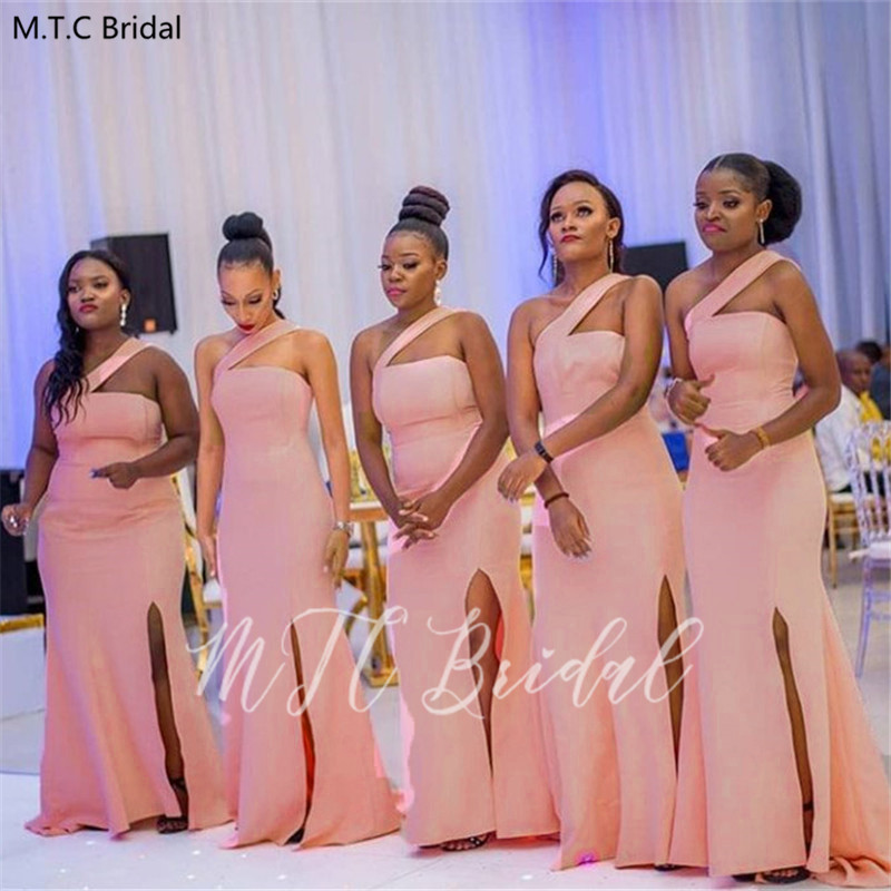 Sexy Dusty Pink African Mermaid Bridesmaid Dresses Side Slit One Shoulder Long Wedding Guest Dress Plus Size Maid Of Honor Gowns