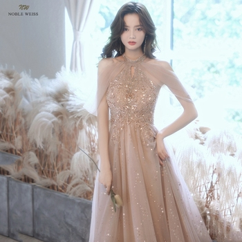 Champagne Prom Dresses  Halter  Dresses Woman Party Night  Floor-Length  Beading  Prom Dress  A-Line  Evening Dresses 6