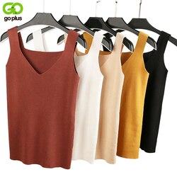 GOPLUS Sexy V-ausschnitt Strick Crop Top frauen Shirt Plus größe Tank Top Unterwäsche Top Frauen Casual Streetwear Kleidung für Frauen