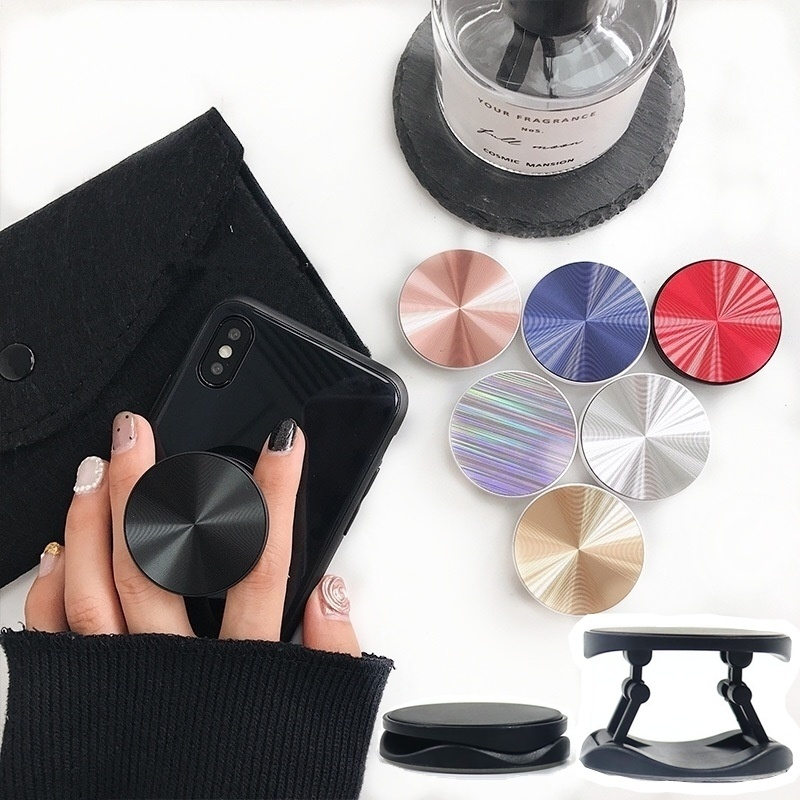 Metal Surface Expanding Phone Socket Holder Universal Mobile Phone Finger Grip Holder Flexible Phone Stand For All Phone