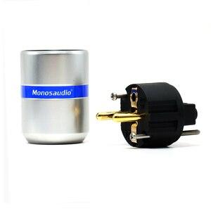 Image 5 - Paire Monosaudio haut de gamme pur cuivre Type ue connecteur dalimentation Schuko prise dalimentation pour Hifi bricolage câble dalimentation