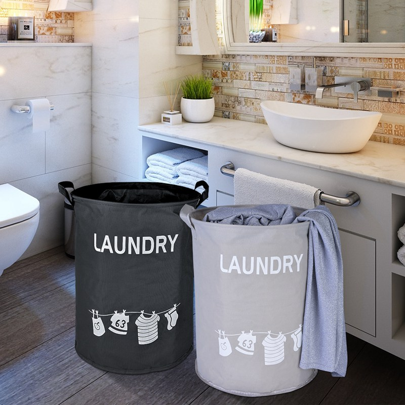 Dustproof Waterproof Foldable Oxford Laundry Basket Washing Laundry Storage Bags Home Hampers Kids Toys Storage Bucket