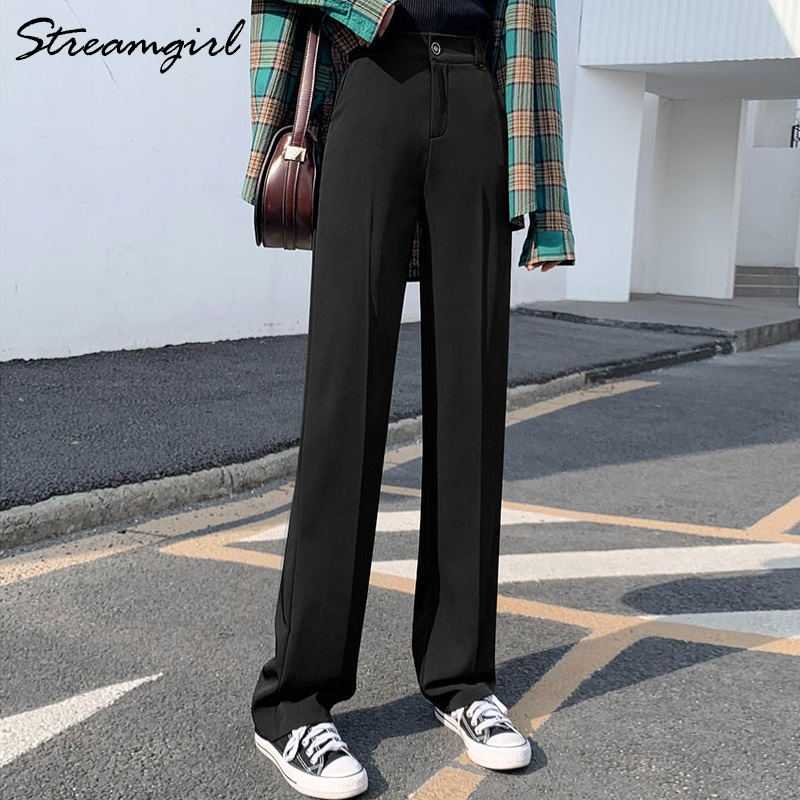 Streamgirl Women Wide Leg Pants Plus Size Female Trousers Spring Straight Black Suit Casual High Waist Pants Wide Leg Summer