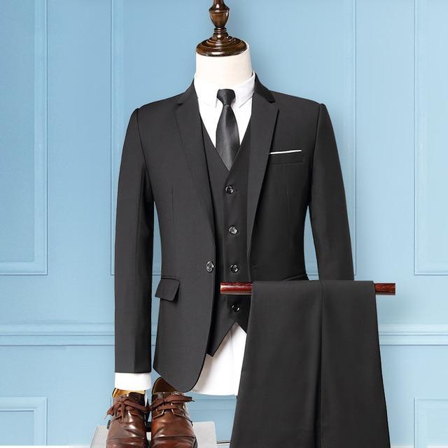 Mens Suits With Pants Men 3 Piece Set Slim Fit Suits For Groom Wedding Gentleman One Button Blazer Vest Pants Men Business Suite