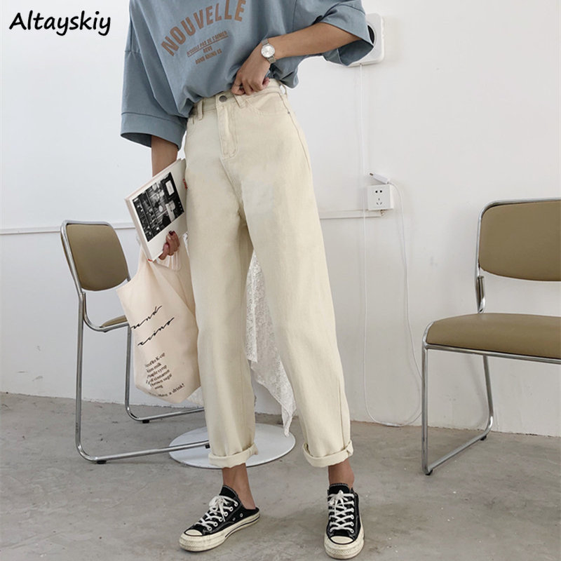 Jeans Women Beige Denim High-waist Ankle-length Loose Womens Trousers All-match Casual Simple All-match Boyfriend Harajuku Daily