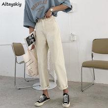 ג ינס נשים בז גבוהים מותן ינס קרסול אורך Loose נשים מכנסיים כל משחק מזדמן פשוט כל  התאמה החבר Harajuku יומי