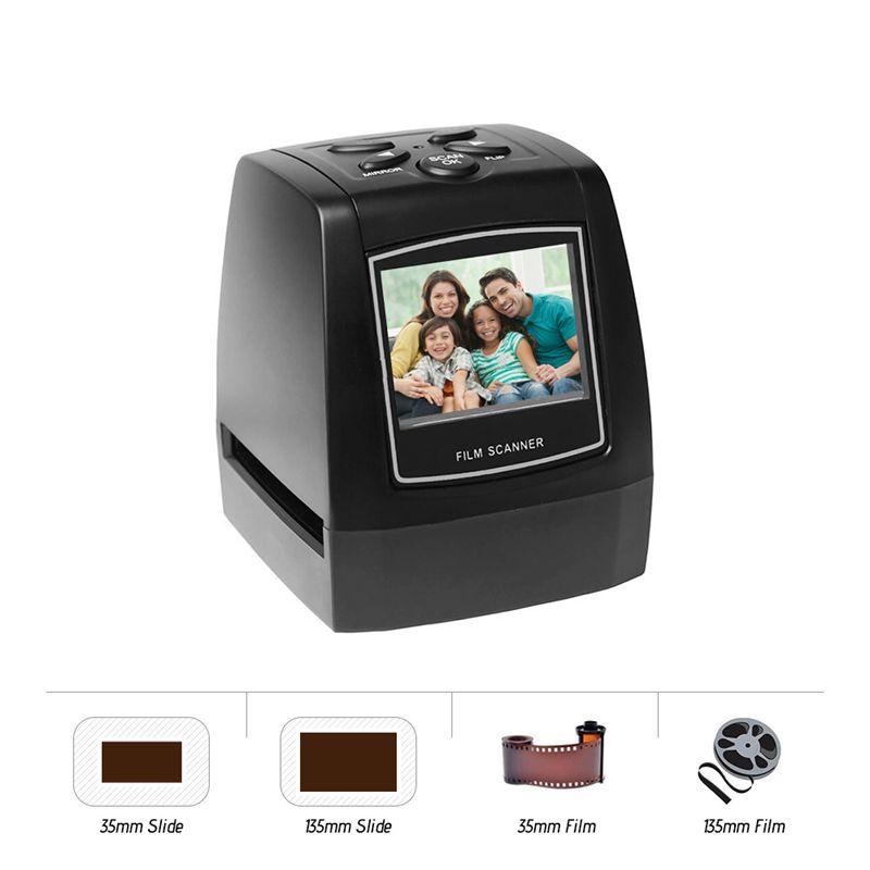 Сканер для негатива пленки, конвертер слайдов, пленки 35 мм 135 мм, устройство для просмотра цифровых фотоизображений с 2,4-дюймовым ЖК-дисплеем...