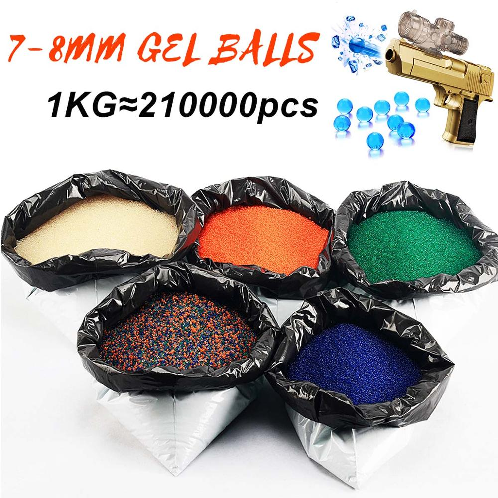 1KG/Lot Gel Balls Crystal Water Bead 7-8mm Hardened Bullet 5 Colors For Toy Gun Home Decor Gel Gun Blaster Toy Gel Balls Set