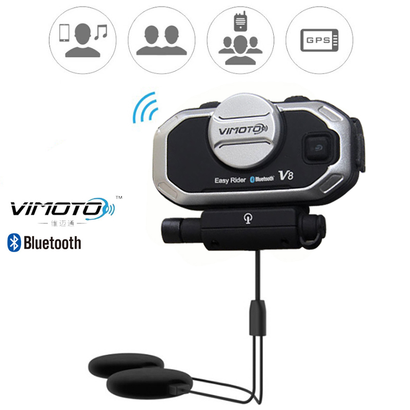 Английская версия Easy Rider vimoto V8 шлем Bluetooth гарнитура мотоциклетные стерео наушники для мобильного телефона и GPS 2 Way Радио